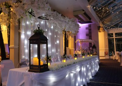 Starlight backdrop and starlight bridal table cover for hire